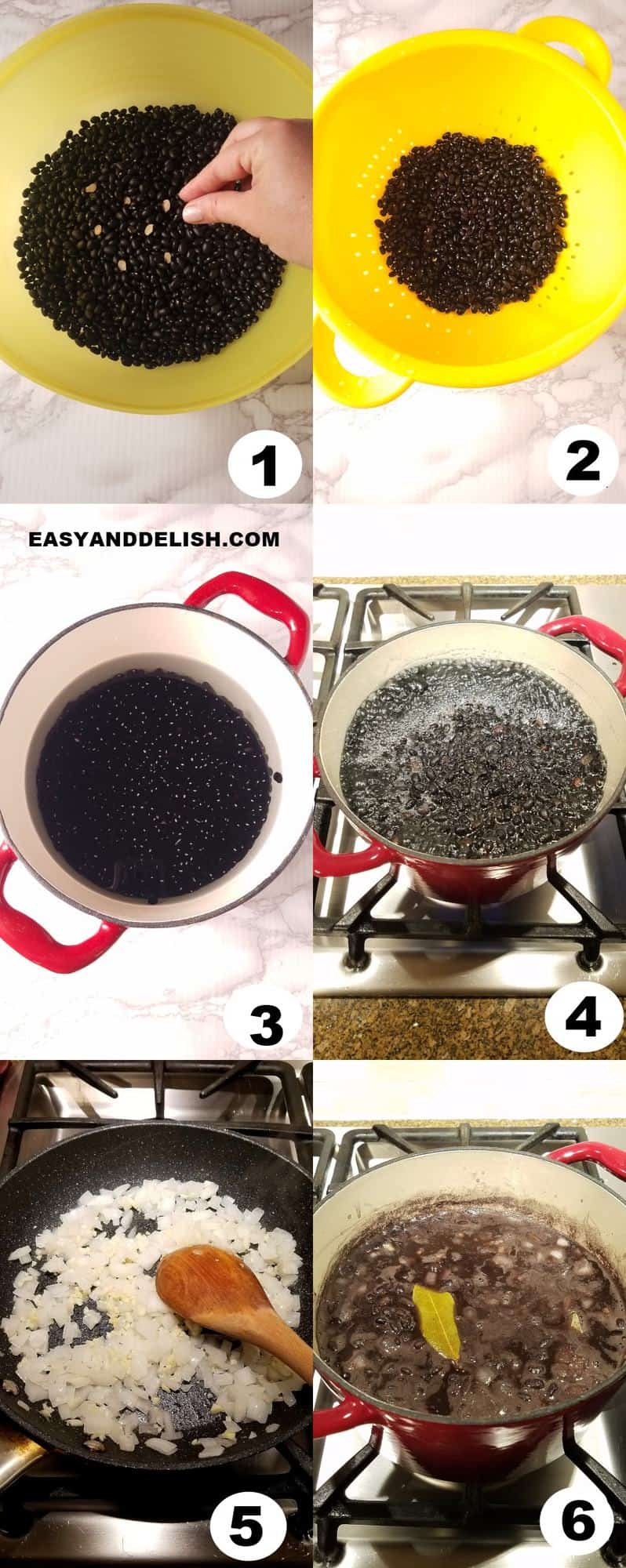 image collage showing how to make black beans in 6 steps