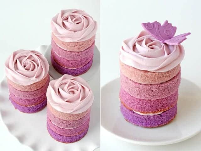 Purple Ombre Mini Cakes by Glorious Treats