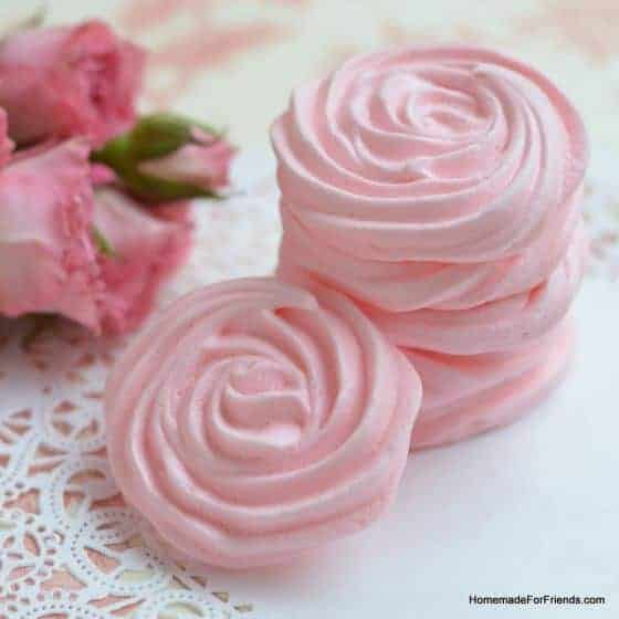 Raspberry Rose Meringues by Homemade For Friends