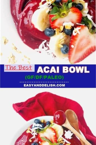 close up of acai bowl or acai na tigela