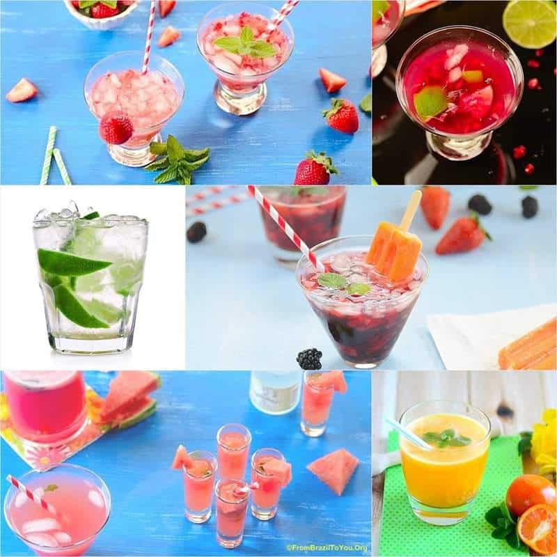 image collage with many Caipirinha drinks and variations