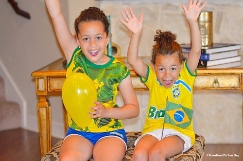 My children cheering for Brazil soccer team...