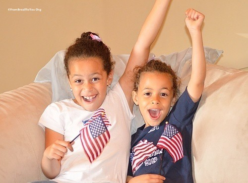 My children cheering for their American soccer team...