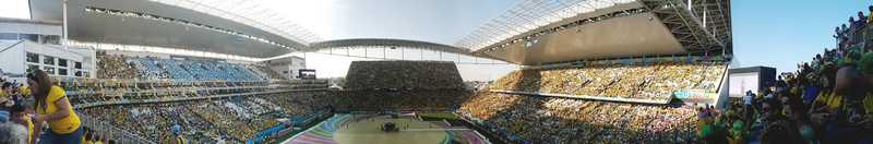 Panoramic view from a Brazilian soccer stadium in São Paulo, Brazil (2014) -- Photo Credit is courtesy of Fernanda Nogueira.