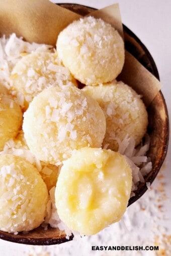 several coconut kisses ina bowl