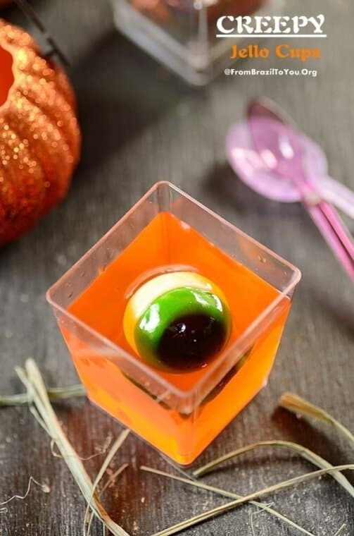 creepy jello cups made to celebrate Halloween