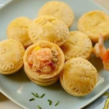 shrimp pot pies in a platter
