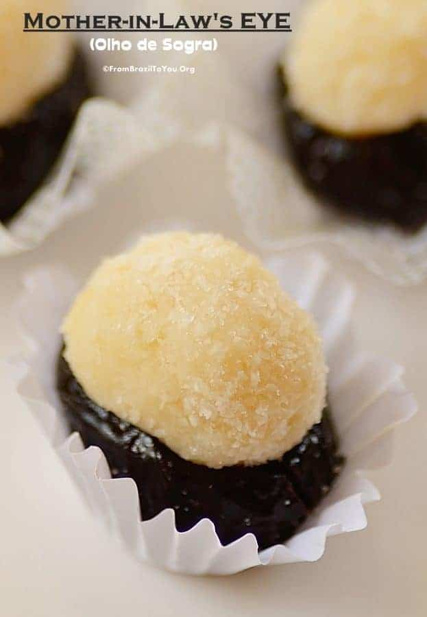 close up image of Olho de Sogra (Mother-in-Law's Eye) also known as prune coconut candy