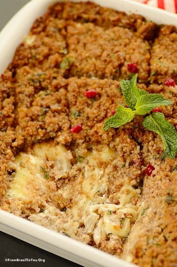 Baked quibe or kibbeh made with bulgur wheat and ground lamb