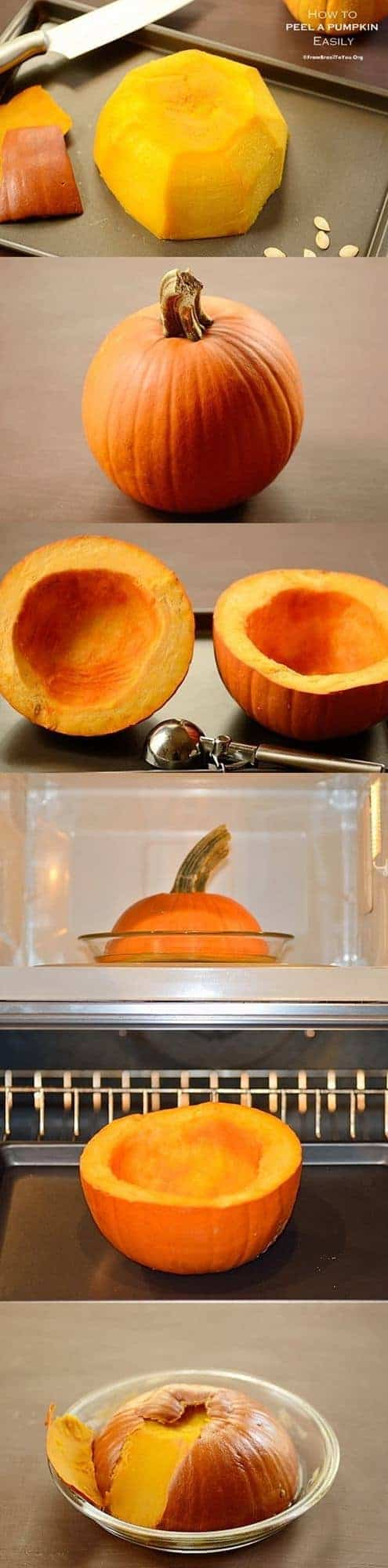 Peeling a pumpkin easily for cooking