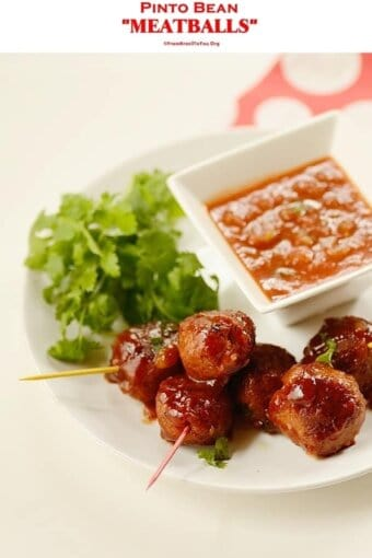 bean meatballs with sauce in a plate