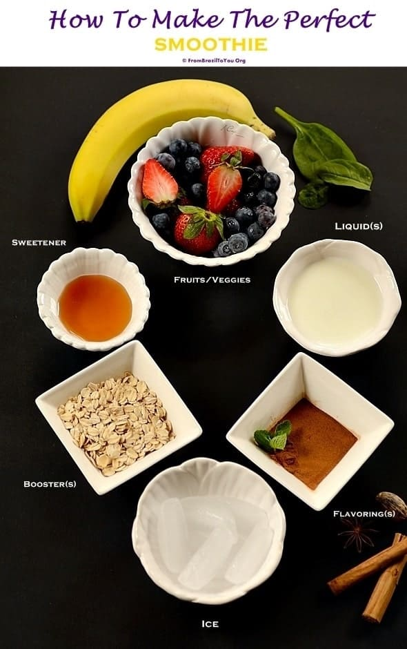 ingredients for how to make the perfect smoothie