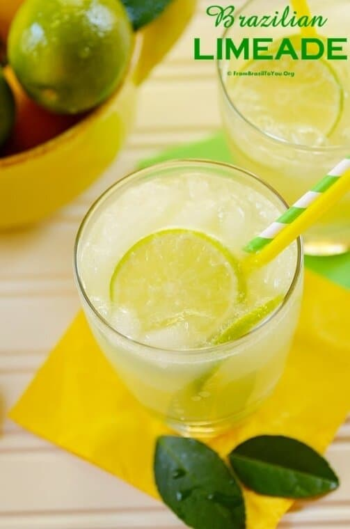 Brazilian Limeade in a glass with straws