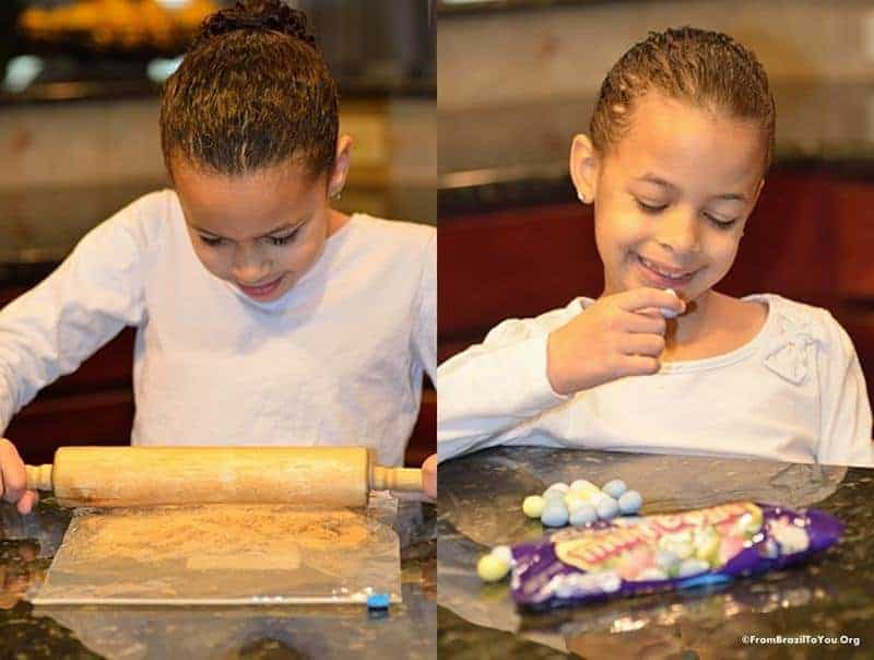 My kids helping to make our Easter Cookie Bars...