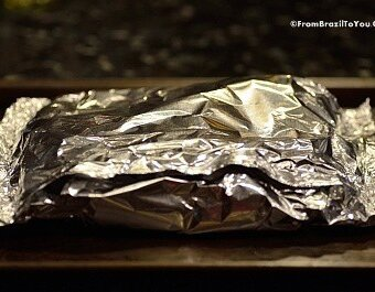 wrapped baby potatoes in aluminum foil