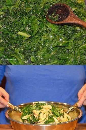 Two photos showing kale cooking in a pan with oil until slightly wilted, and then tossed with cooked pasta and Parmesan cheese in a bowl