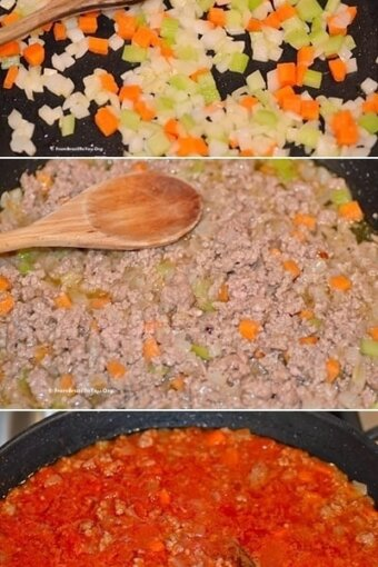 photos showing sauteed vegetables which are mixed with browned ground beef then simmered with tomato sauce