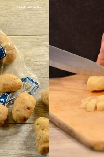 photo montage showing a bag of potatoes which are then cubed with a knife on a cutting board
