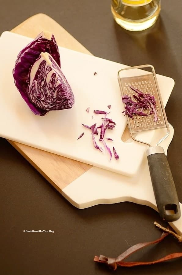 shredding purple cabbage