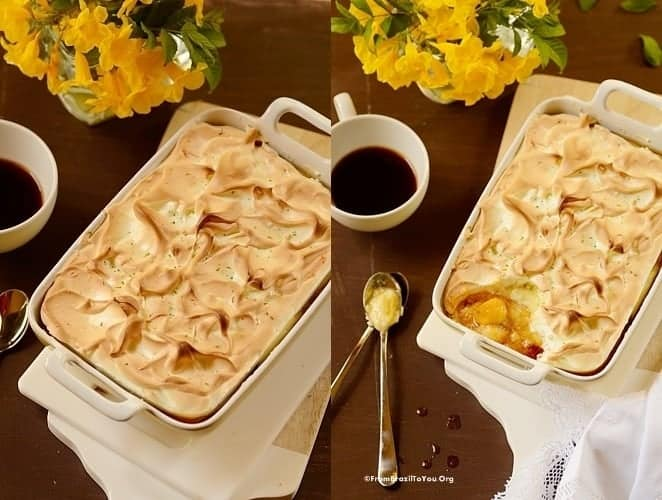 Crustless banana Meringue Pie -- Torta de Banana