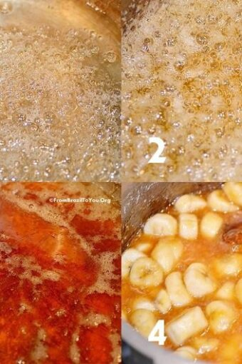 photo montage showing caramel being made from scratch and mixed with bananas