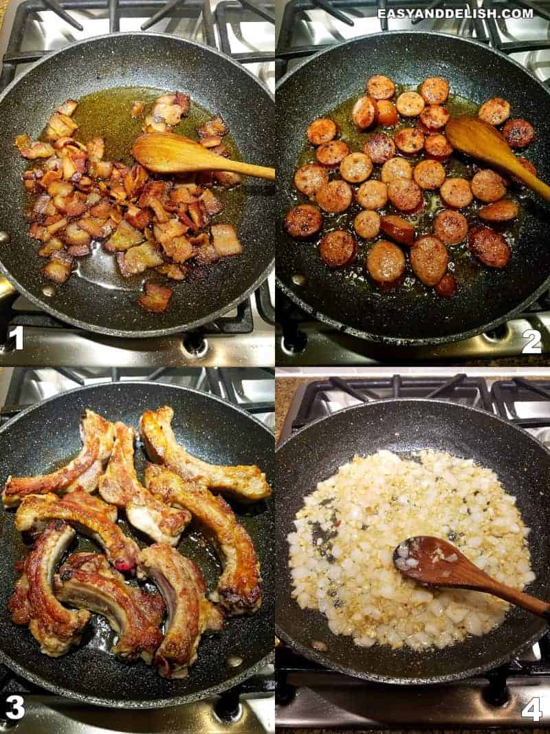 quatro fotos do passo-a-passo de como fazer feojoada no fogão
