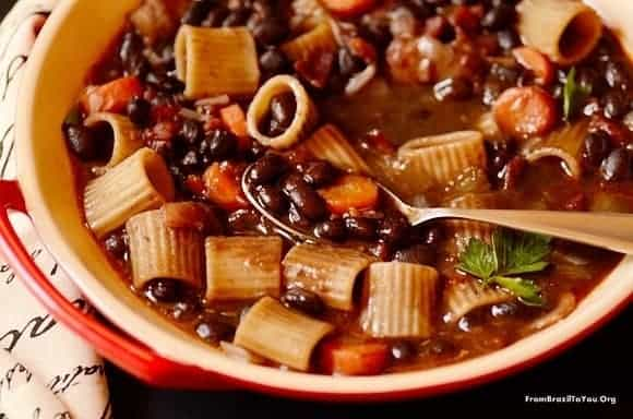 Brazilian minestrone soup in a bowl