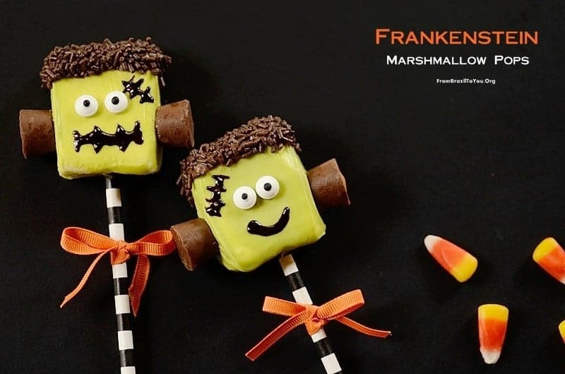 Frankenstein Halloween Pops with candies on the side