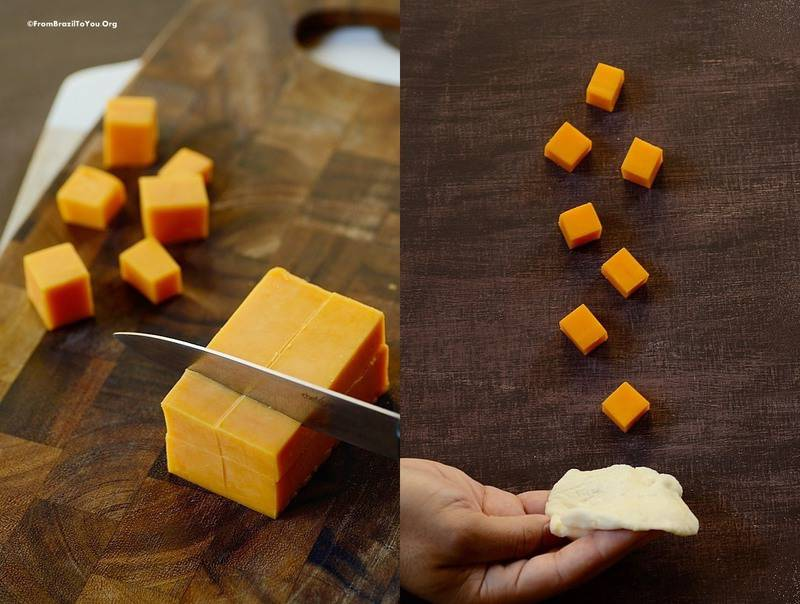 Cutting cheese and filling Brazilian cheese rolls...