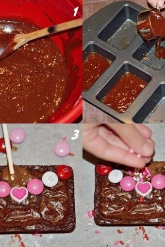 photo montage showing mixing batter, pouring it into the pan, and then decorating love letter brownies for Valentine's Day