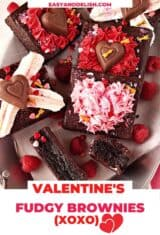 close up of severalfudgy brownies decorated for Valentine's Day