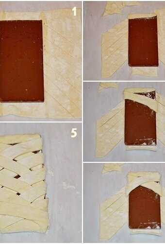 photo montage shows steps of laying chocolate bar on the dough that has been scored into diagonal strips, which are then wrapped around the bar to form a braid pattern