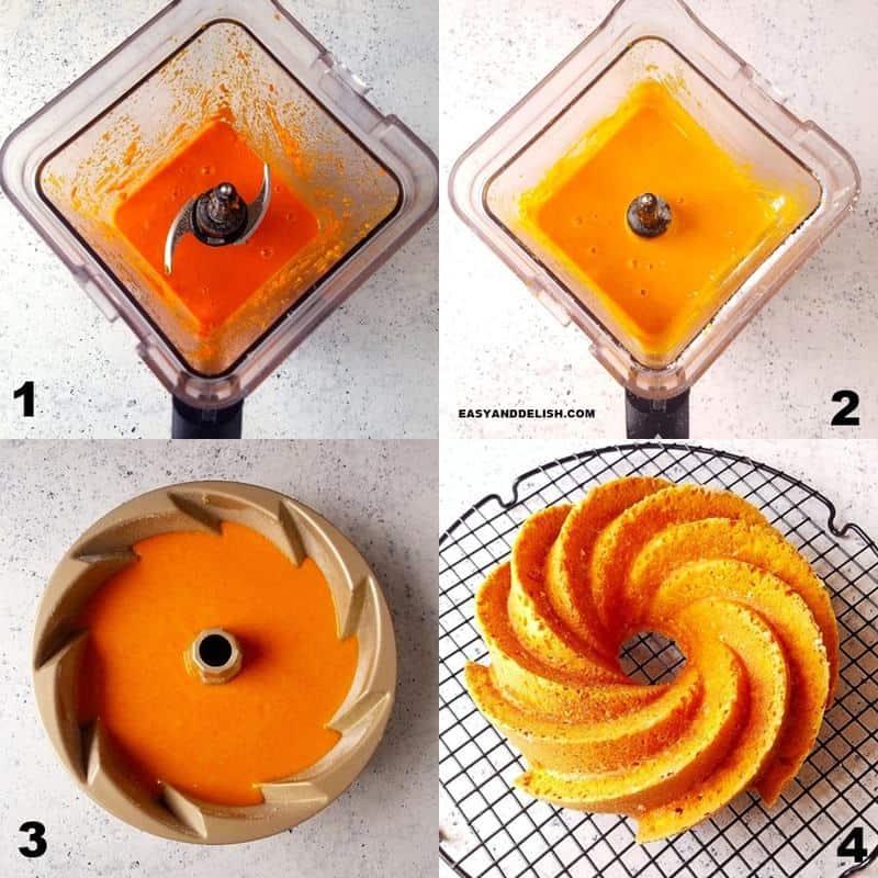 4 fotos mostrando como fazer a receita de bolo de cenoura