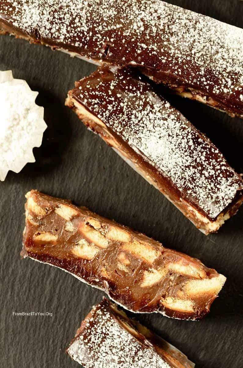 Chocolate Fudge Cookie Bars or Palha Italiana sprinkle with powdered sugar
