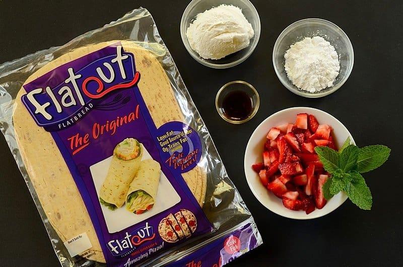 Ingredients-strawberry-cream-flatbread-roll