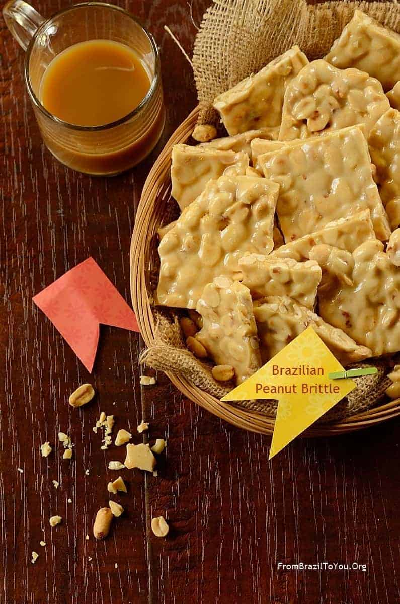 Basket of squares of pe de moleque or Brazilian peanut brittle