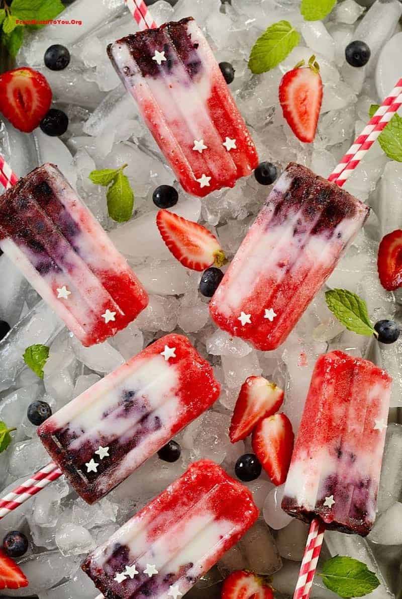 Patriotic Fruit Popsicles -- Berry Coconut Yogurt Popsicles(3)
