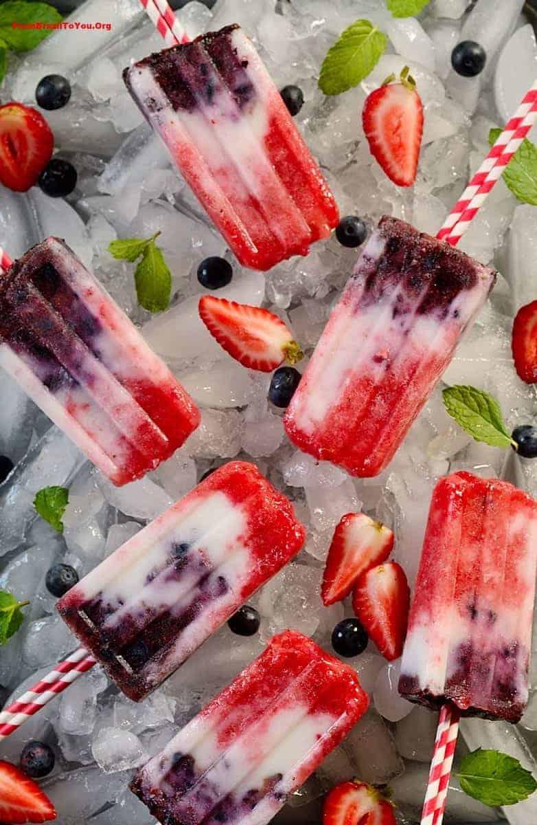 Patriotic Fruit Popsicles