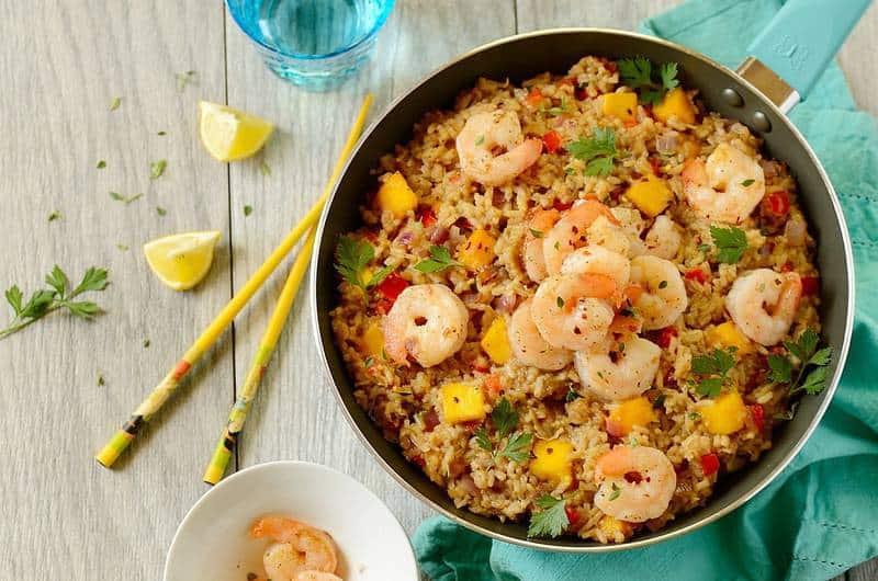 Easy Shrimp Coconut Fried Rice in a skillet