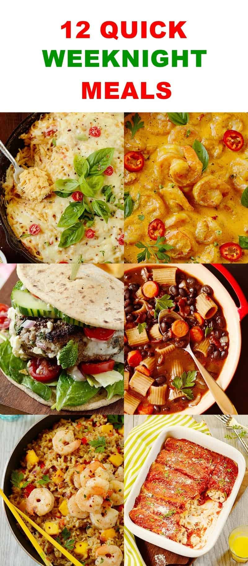 12 Quick Weeknight Meals -- Pinterest