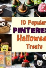 image collage with popular halloween treats recipes