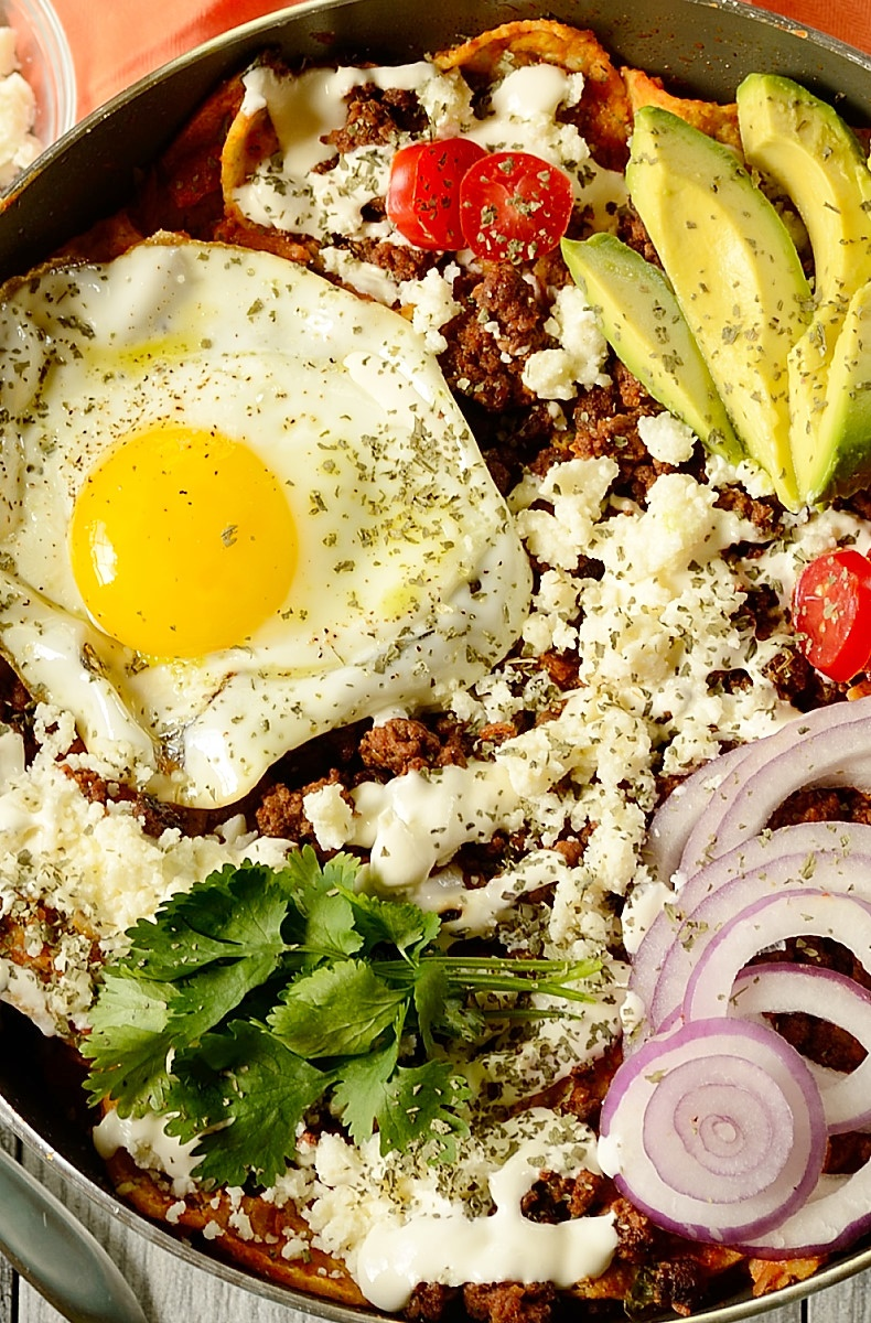 close up image of breakfast chilaquiles