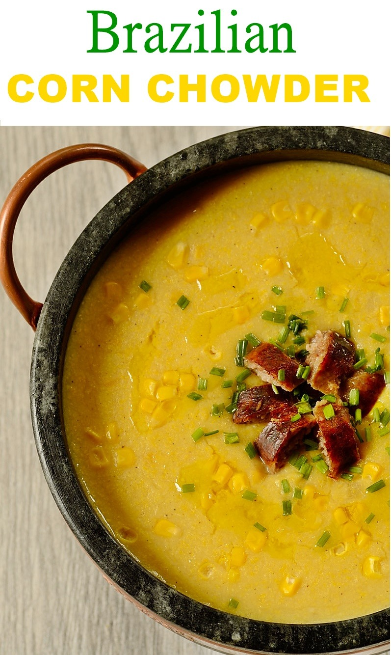 Vertical close up image of Brazilian corn chowder in a pan