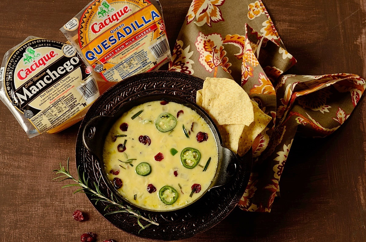 jalapeno dip with Cacique cheeses on the side
