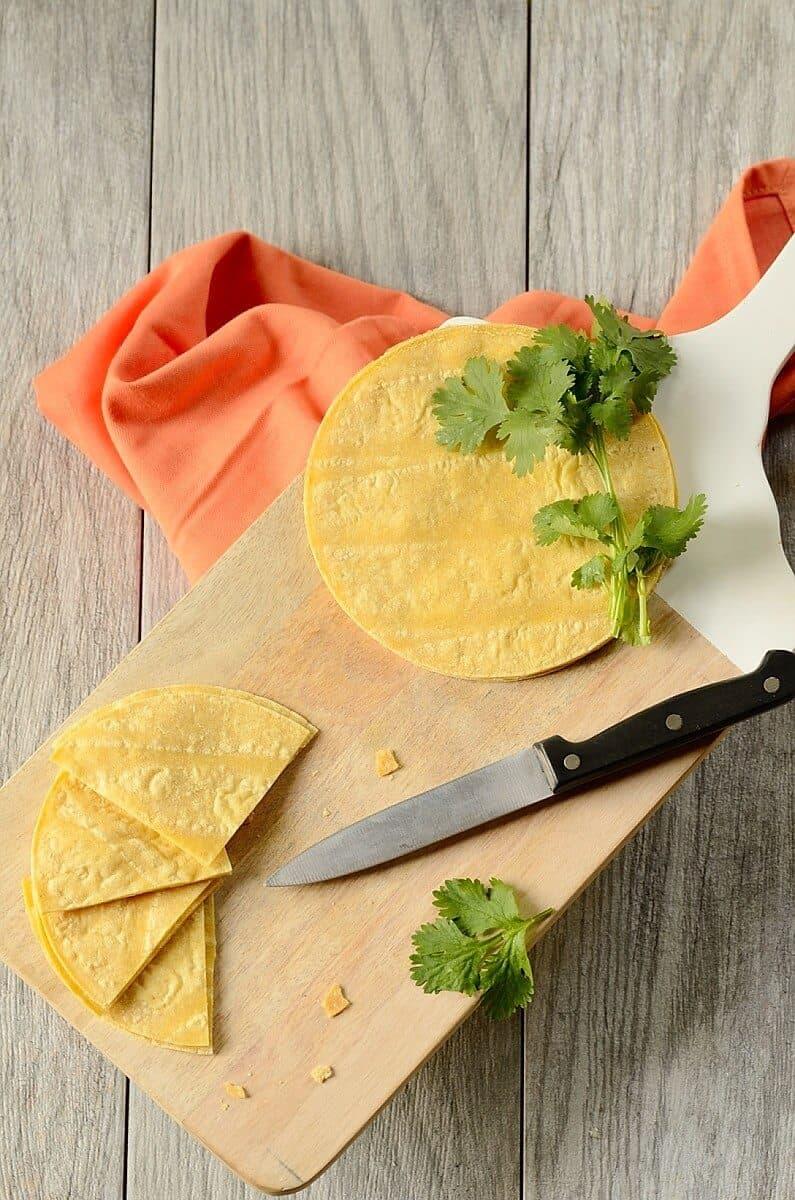 slicing old tortillas