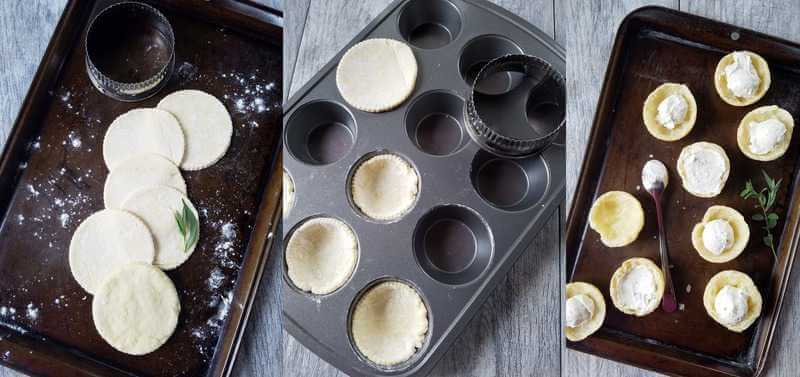 A photo collage showing how to make goat cheese tartlets, especially the crust
