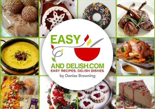 easy and delish blog recipe logo with food recipe background