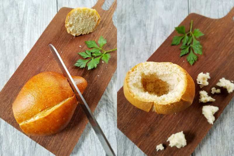 two photo collage showing French bread rolls being cut