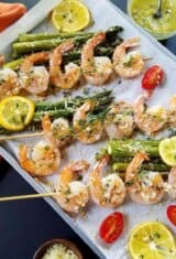 One Sheet Pan Lemon Garlic Parmesan Shrimp and Asparagus