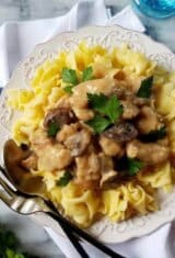slow cooker pork stroganoff over egg noodles in a plate